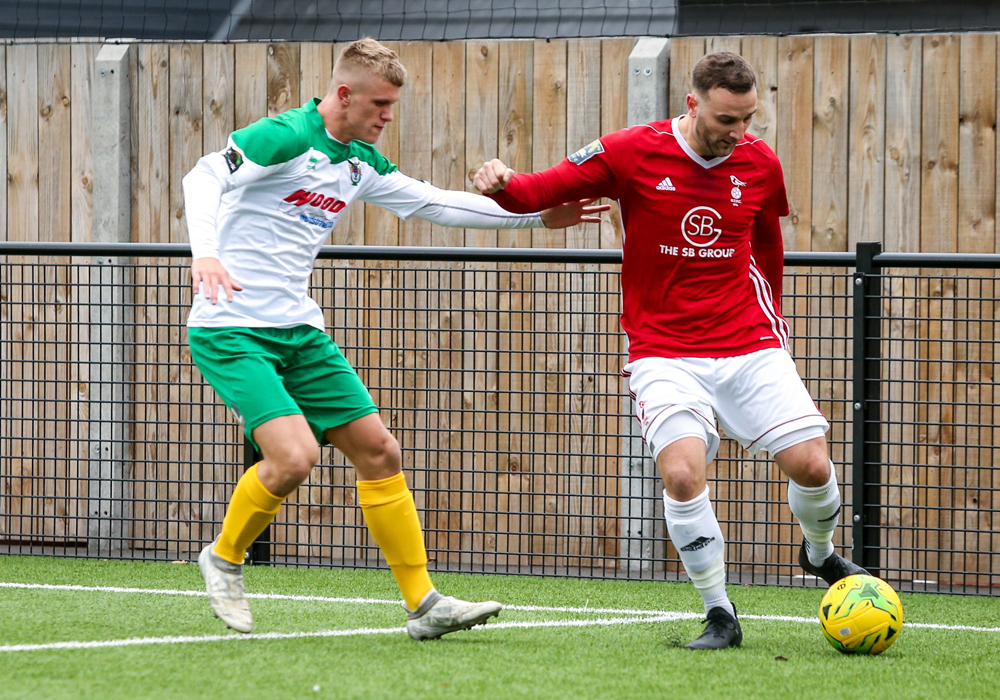 Tommy Block playing for Bognor Regis Town against Bracknell Town in the FA Trophy. Photo: Neil Graham.