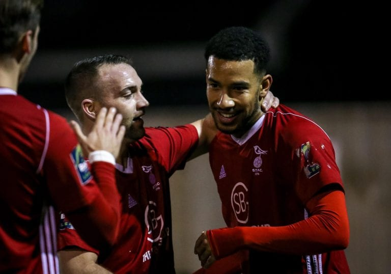 Bracknell's Ash Artwell is congratulated by Jamie McClurg. Photo: Neil Graham.