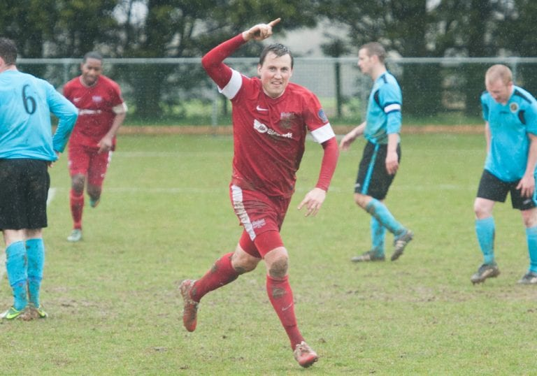 Carl Withers scores for Binfield in 2013 at Ardley United. Photo: Colin Byers.
