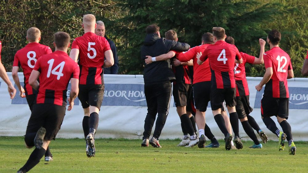 Sandhurst Town celebrate a winner. Photo: Simon Bryce.