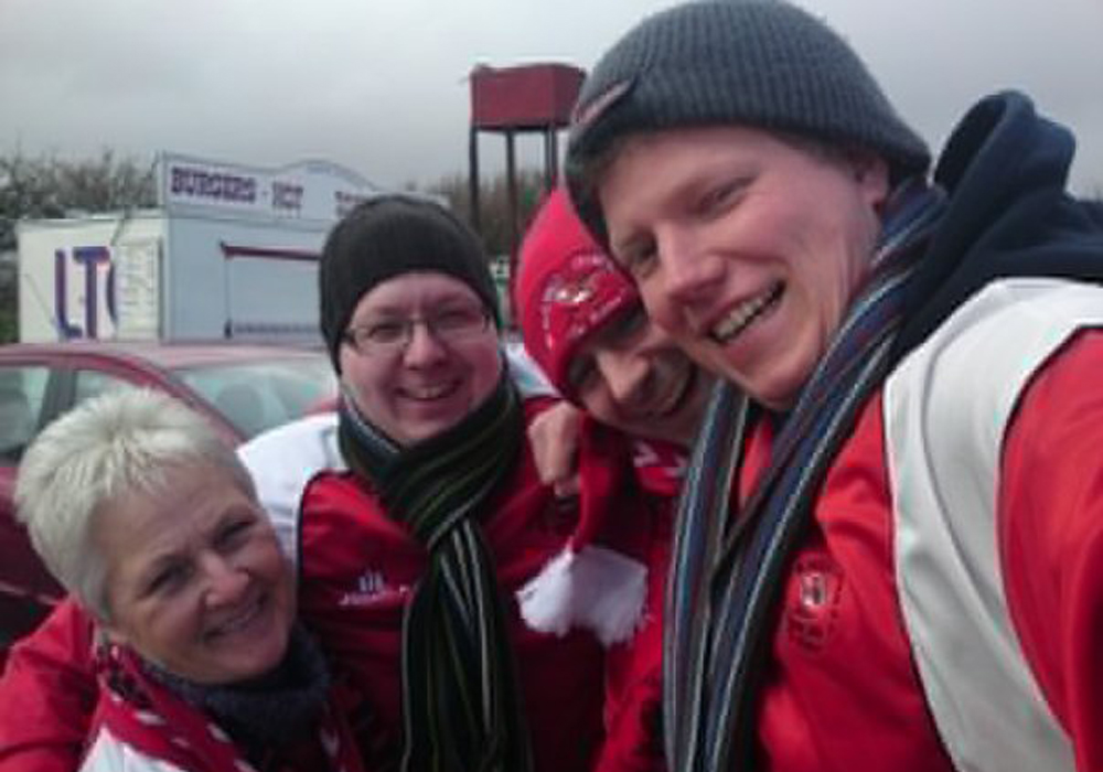 Darrell and the Robins fans on the long away day to Truro City.