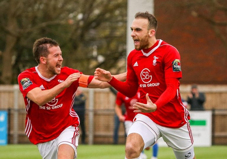 Liam Ferdinand celebrates scoring Bracknell Town's winner. Photo: Neil Graham.