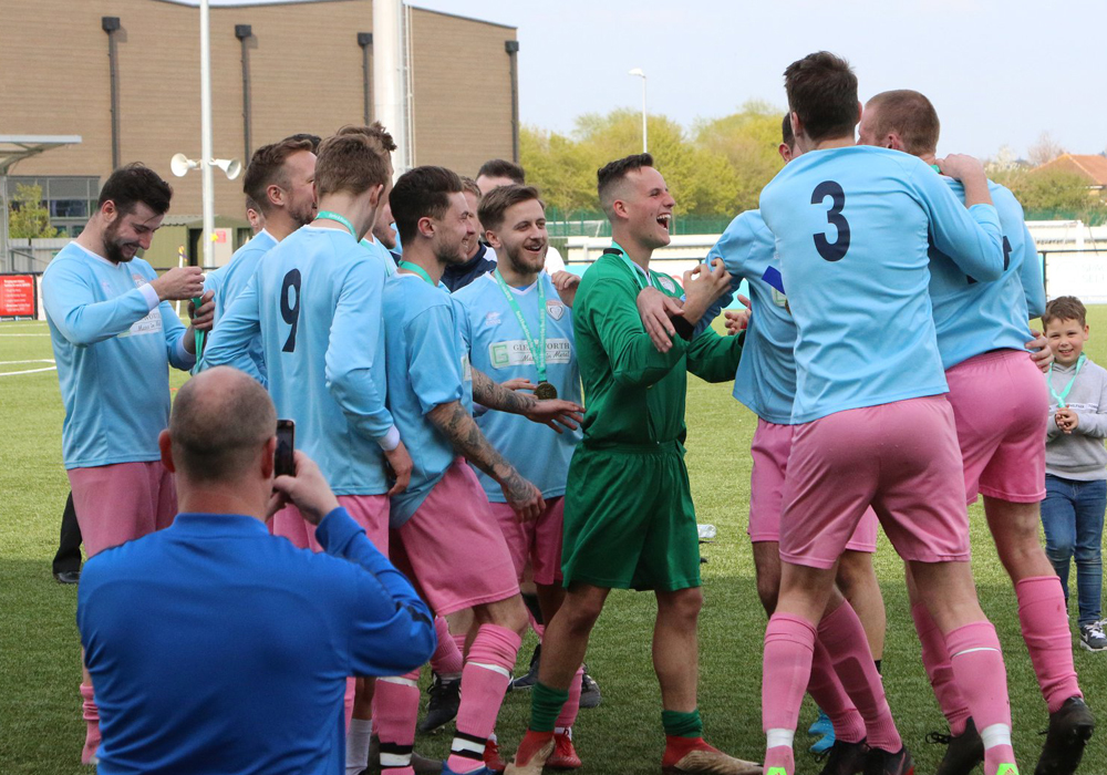 Loveman United celebrate winning the Berks & Bucks County Cup. Photo: Simon Bryce.