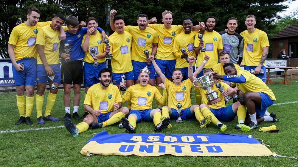 Ascot United celebrate the Bluefin Sport Challenge Cup Final win. Photo: Neil Graham.