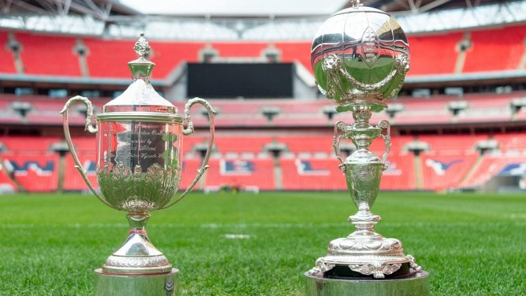 The Buildbase FA Vase and FA Trophy at Wembley Stadium.