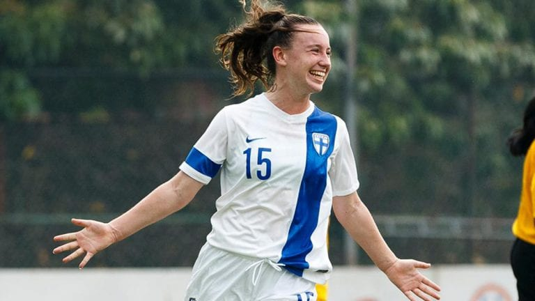 Aimee Claypole celebrates scoring for Finland. Photo: Richard Claypole.