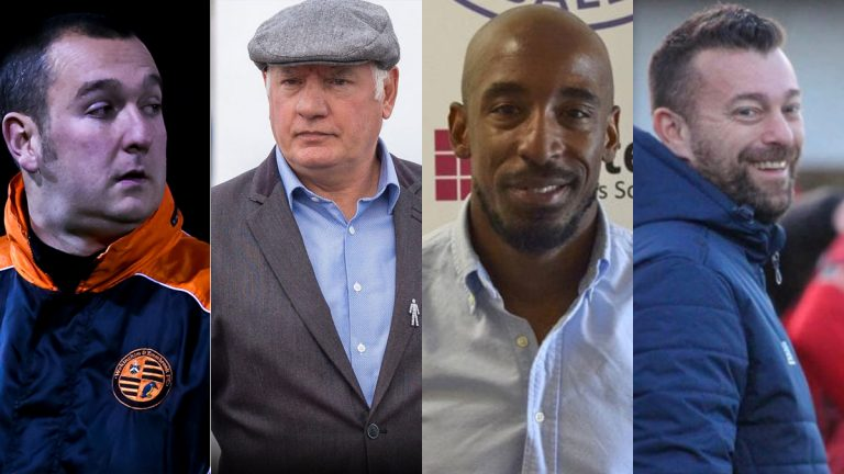Managers on the big Berkshire longest serving boss list: Left to right - Dan Bateman, Alan Devonshire, Jamie Leacock and Ian Selley.