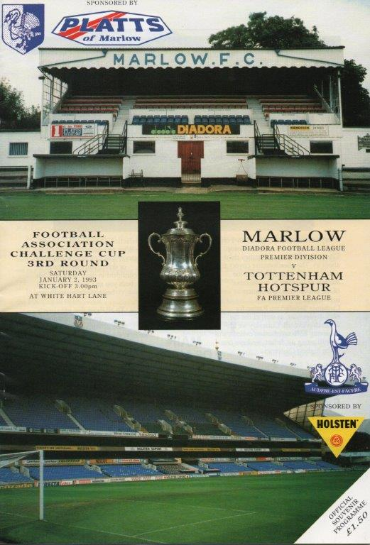 Programme cover for the Marlow vs Tottenham Hotspur FA Cup tie. Photo supplied by Terry Staines.