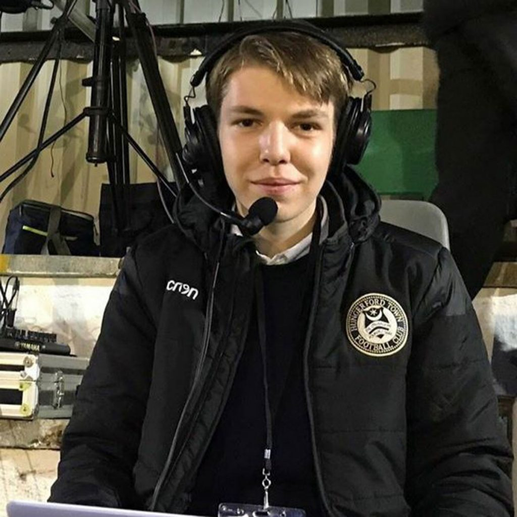 Hungerford Town's match day commentator Ciaran Morrison.