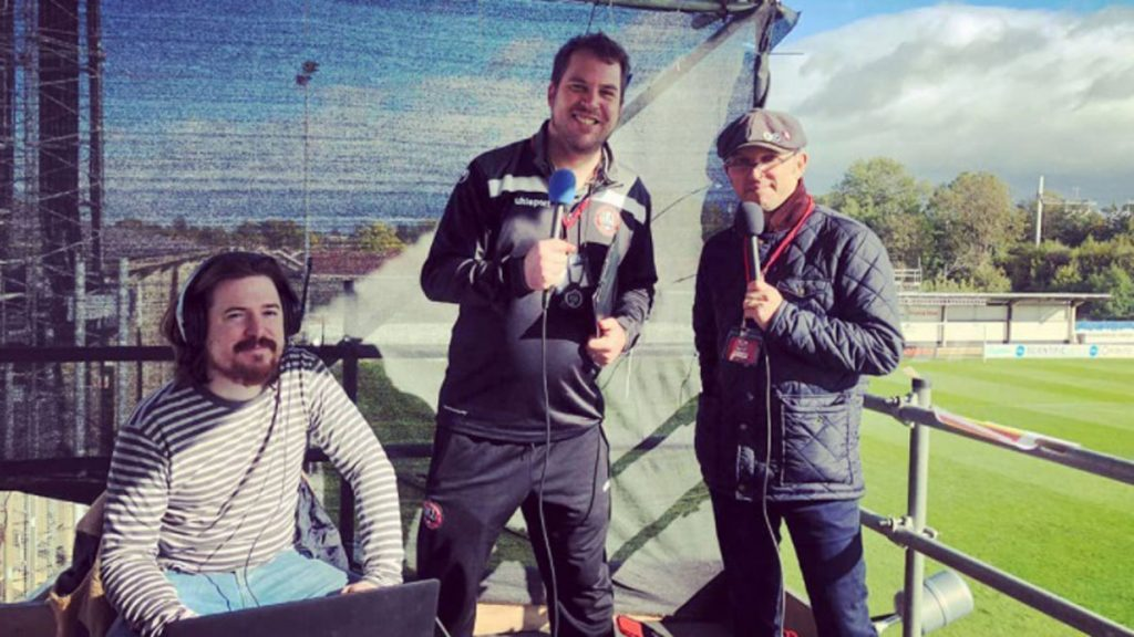 Maidenhead United's commentary team from left to right - Steve Maskell, Neil Maskell and Steve Jinman.