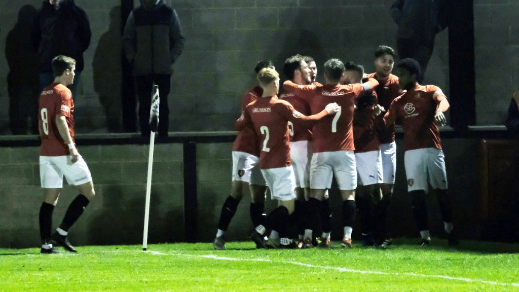 Bracknell Town celebrate Scott Rees' goal in the FA Trophy at Salisbury. Photo: Andrew Batt.