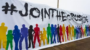 The 'Join The Crusade' banner at Hungerford Town. Photo: Darren Woolley / darrenwoolley.photos