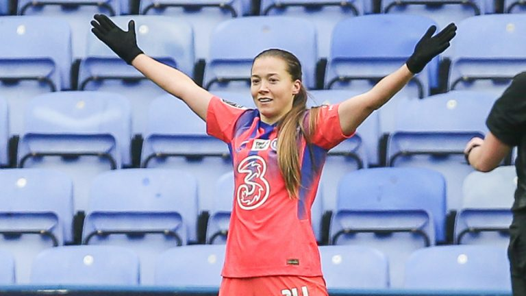 Chelsea Women's star Fran Kirby celebrates against Reading FC Women.