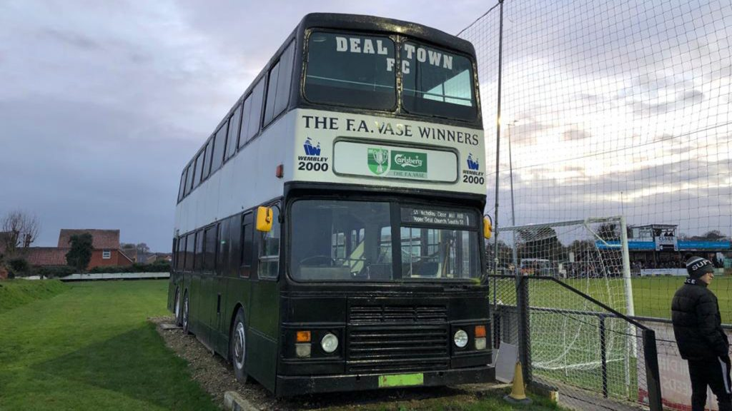 The bus commemorating Deal Town's 2000 FA Vase win at the Charles Sports Ground. Photo: Tom Canning.