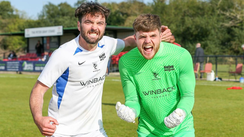 Liam Gavin and Chris Grace celebrate Binfield's win. Photo: Neil Graham / ngsportsphotography.com