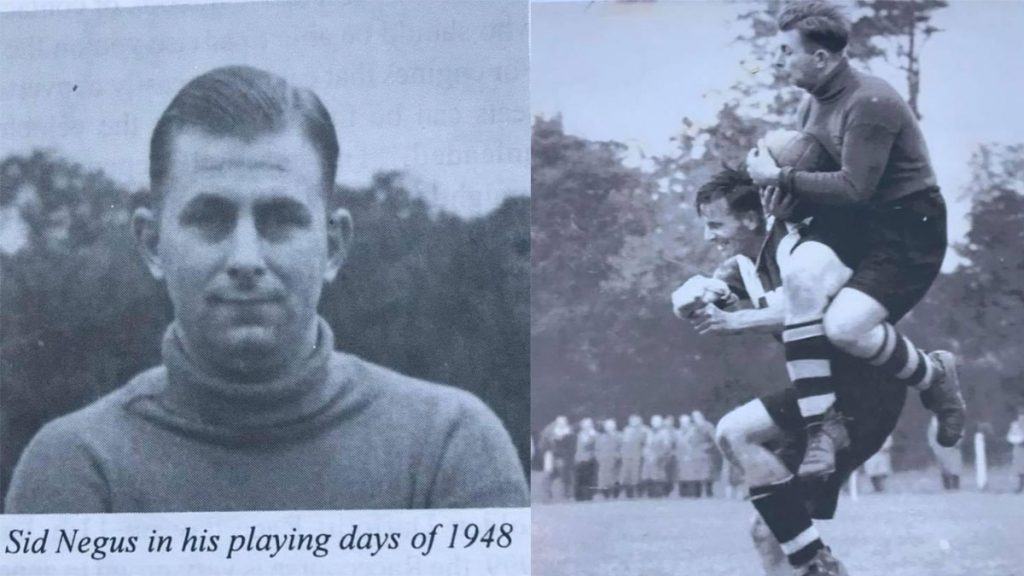 Sid Negus pictured playing for Fakenham Town in 1948. Photos supplied by Simon Negus.