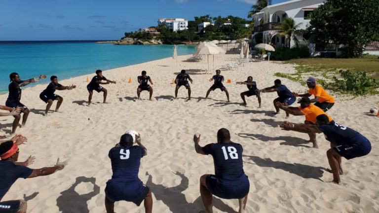 The Anguillan national team training on the beach. Supplied by Anguillan FA