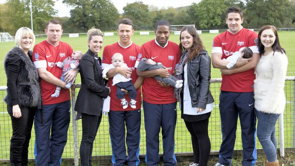 (Left to right) Samantha and Paul Shone and baby Bronte, April and James Suarez with baby Javier, Jemel Johnson and Sarah O'Neill with baby Theo, Garry Callaway and Helen Burgess with baby Chloe in 2012. Photo: Colin Byers.