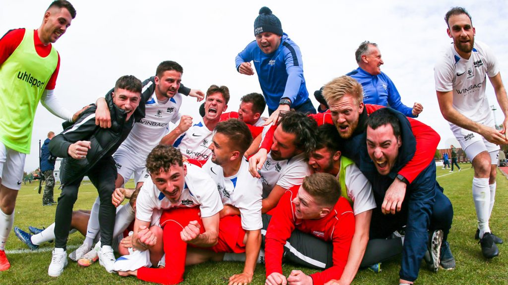 Binfield FC: The picture that made the front of the Non League Paper. Photo: Neil Graham / ngsportsphotography.com