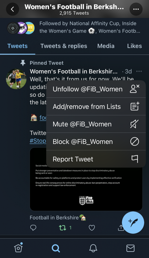 Blocking and reporting a tweet.