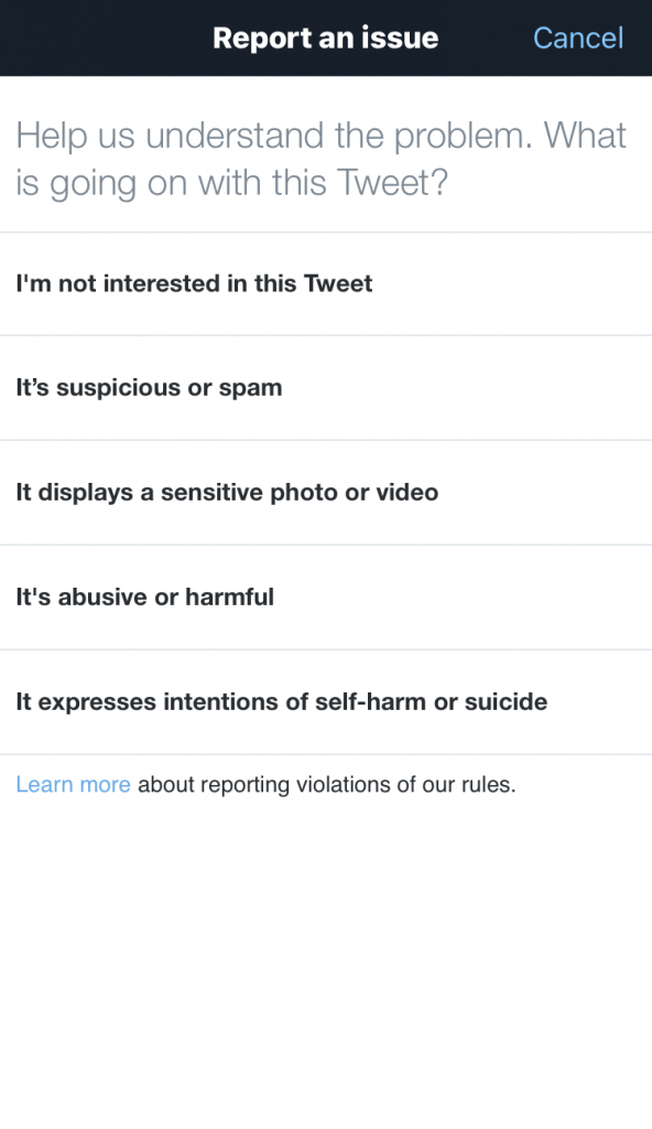 Reporting an issue with a tweet.
