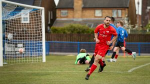 Liam Ferdinand wheels away after scoring for Binfield in the FA Vase.