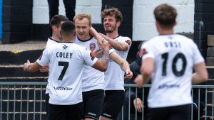 Sam Barratt celebrates his Maidenhead United goal. Photo: Darren Woolley / darrenwoolley.photos
