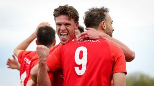 Sean Moore celebrates his goal for Binfield in the FA Vase. Photo: Neil Graham / ngsportsphotography.com