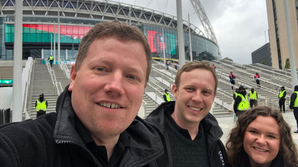 Three of the Football in Berkshire team reporting from Wembley Stadium. Left to right: Tom Canning, Rob Davies, Abi Ticehurst.