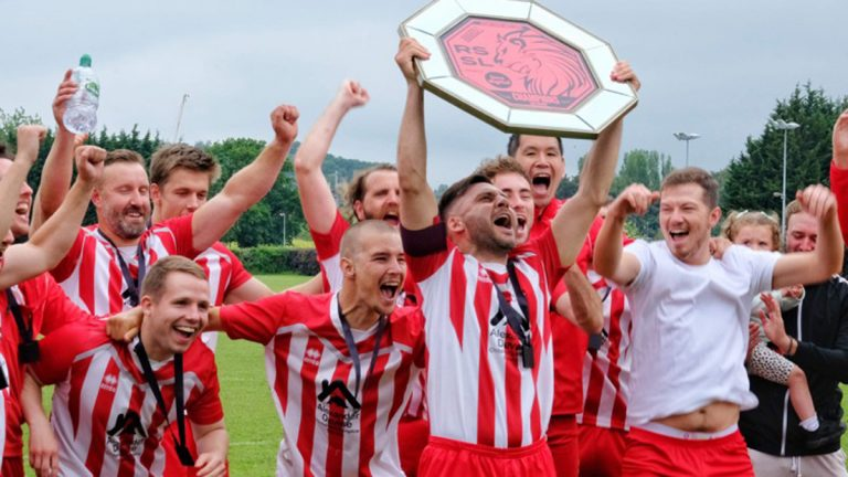 Woodley Saints lift the trophy in the Reading Sunday Social League Photo: Andrew Batt.