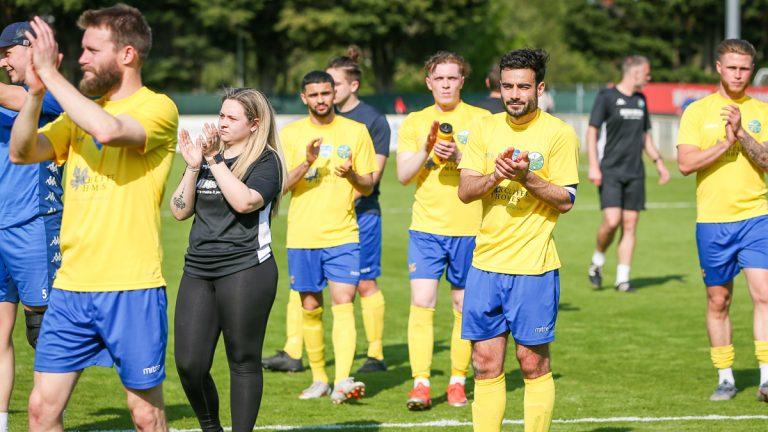 Ascot United's players applaud their supporters after a penalty shootout defeat in the 2020/21 League Cup Final. Photo: Neil Graham / ngsportsphotography.com