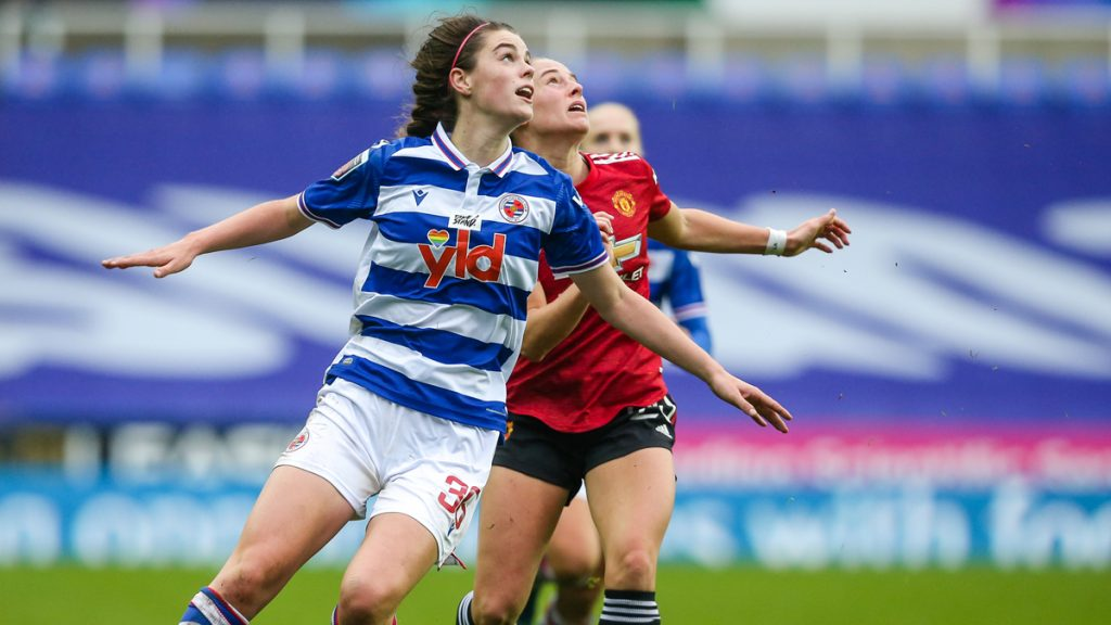 Emma Harries in action for Reading FC Women against Manchester United. Photo: Neil Graham / ngsportsphotography.com