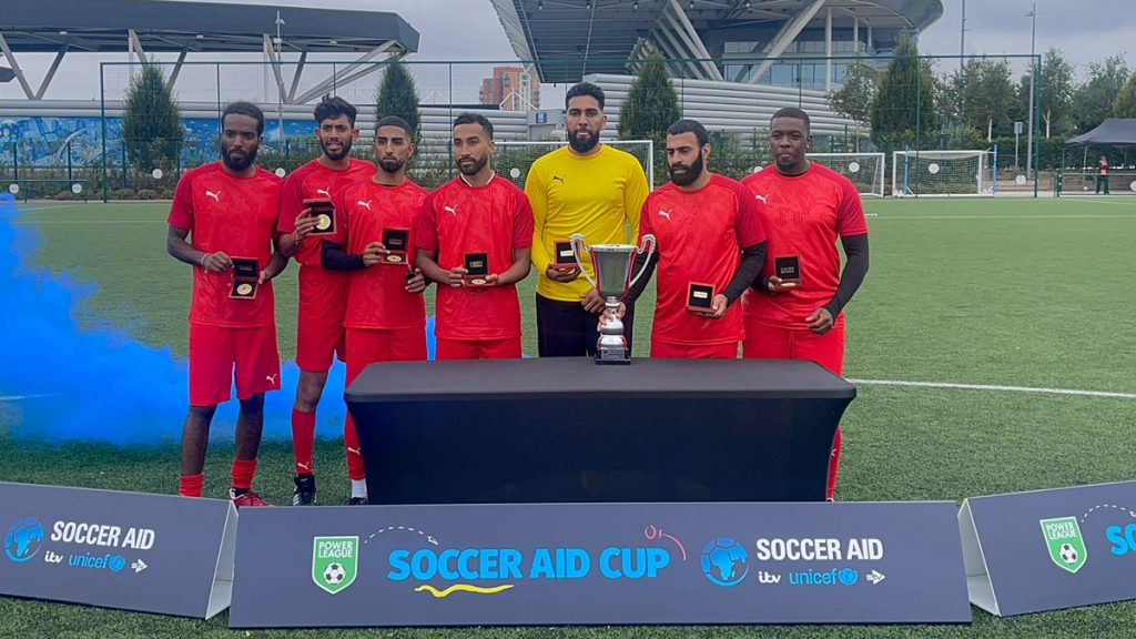 Slough Scorpionz win the Soccer Aid cup.
