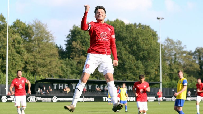 Seb Bowerman celebrates scoring for Bracknell Town in the FA Trophy. Photo: Neil Graham / ngsportsphotography.com