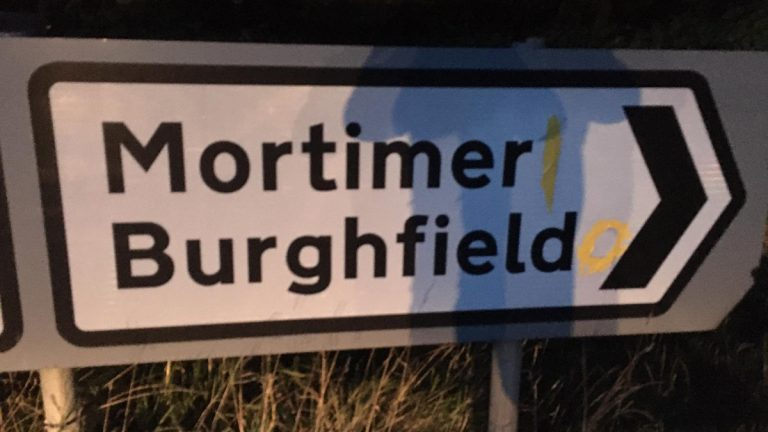 Mortimer and Burghfield road sign. Photo: Anonymous.
