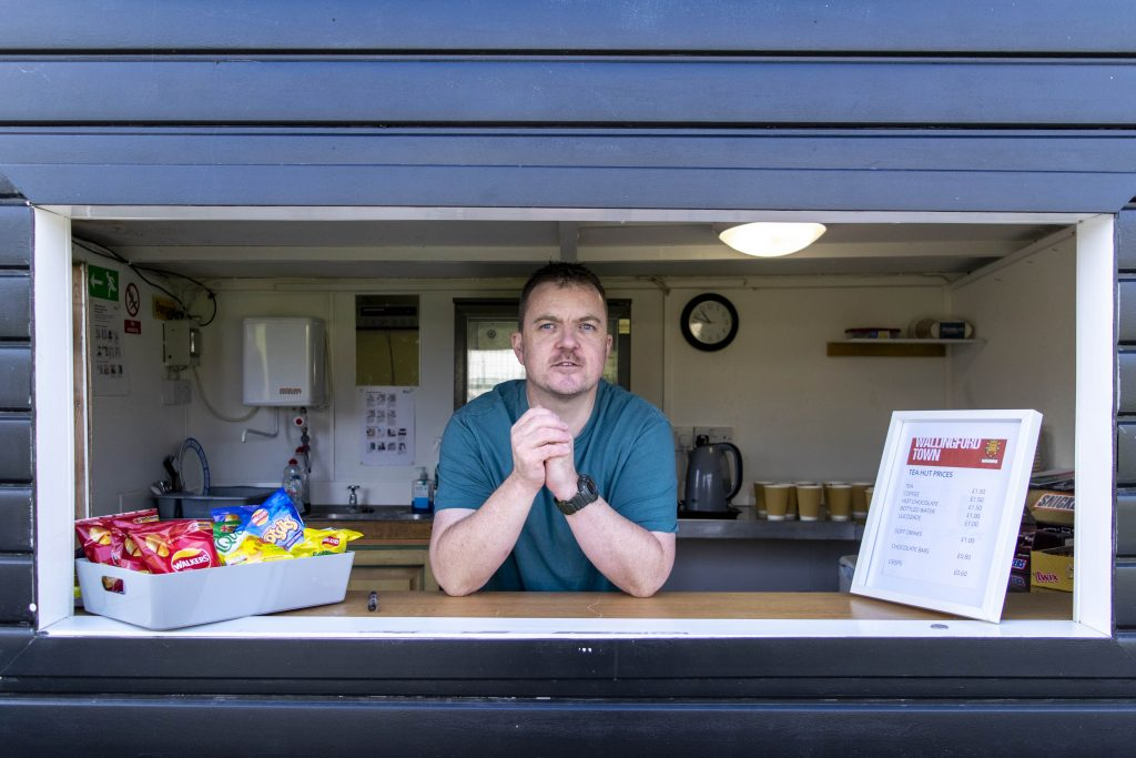 Steven Sherwood in the tea hut at Wallingford Town AFC. Photo: Cameron Howard.